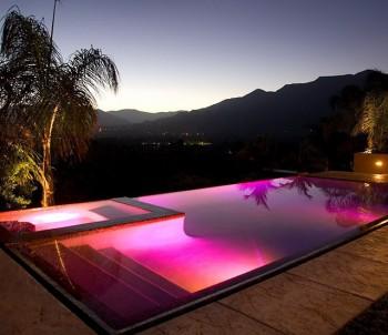 Pool lighting at dusk
