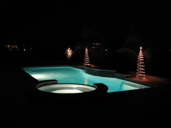 Pool lights at night
