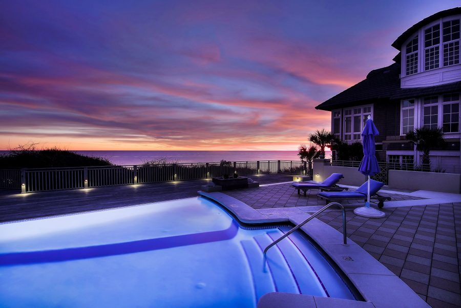 House with a Swimming Pool at dusk