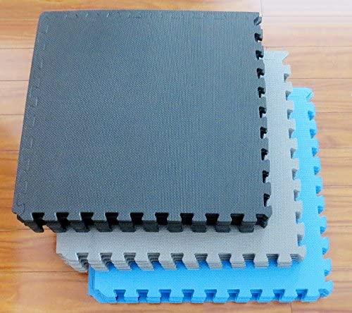 EVA interlocking foam tiles for under pools come in black, grey and blue color
